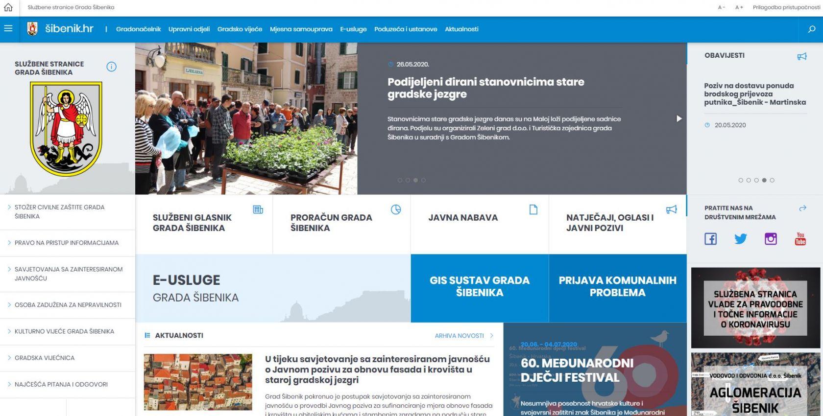 Novi izgled internetske stranice Grada Šibenika