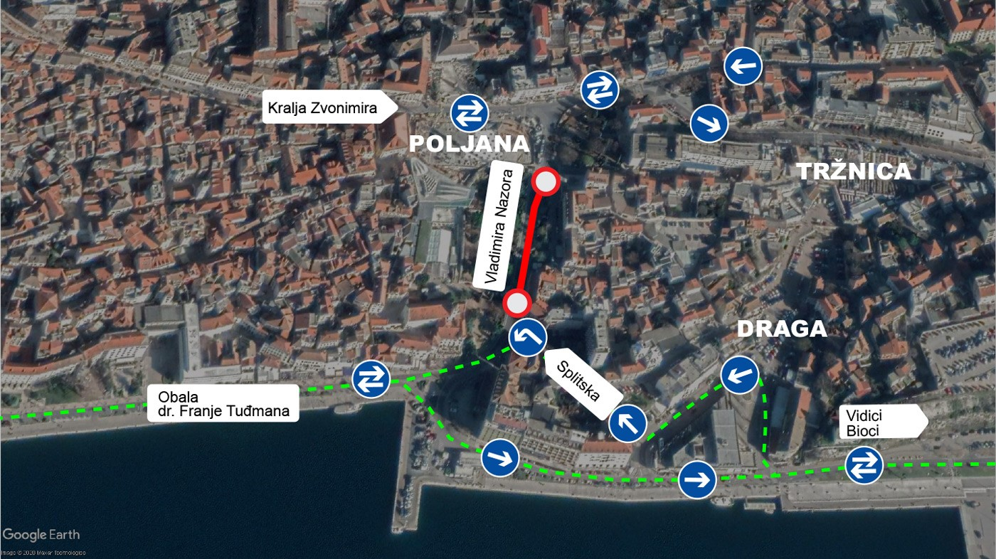 Od utorka,15. rujna nastavak radova u Šibeniku, nova prometna regulacija od Poljane prema obali