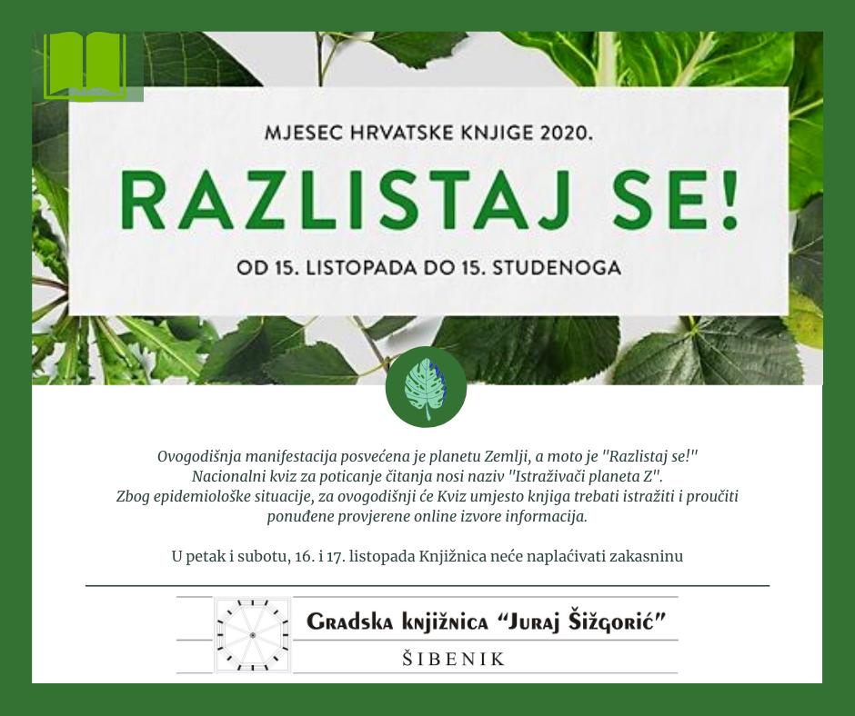 """Mjesec hrvatske knjige u Gradskoj knjižnici """"Juraj Šižgorić"""""""