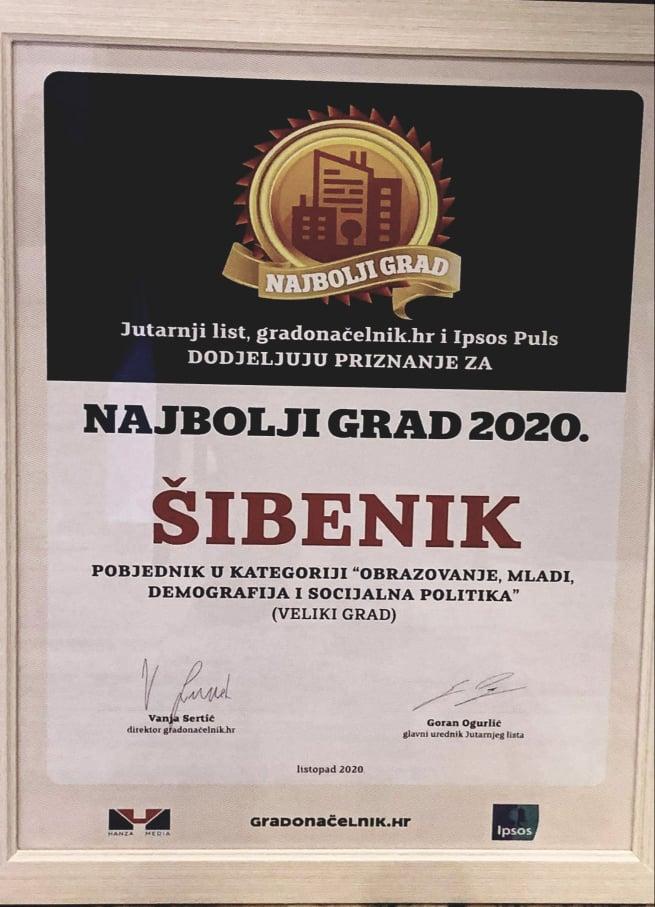 Grad Šibenik proglašen najboljim gradom u kategoriji obrazovanje i demografska politika